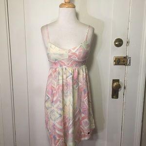 Aritzia TNA yellow pink patterned dress